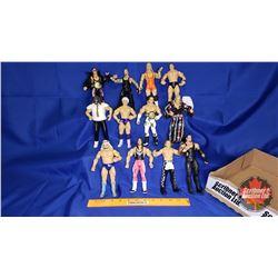 Tray Lot : Poseable Jakks Action Figures (12) - Including Undertaker (2); Brock Lesnar; Shawn Michae