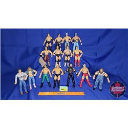 Tray Lot : Poseable Jakks Action Figures (15) - Including Rey Mysterio; Lucha Libre; Hollywood Blond