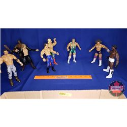Tray Lot : Poseable Jakks Action Figures (8) - Including Billy Graham; Booker T (2); Eddie Guerrero;