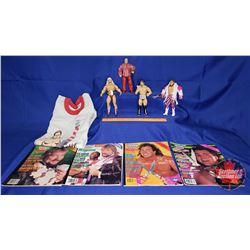Tray Lot : Brutus the Barber Medium T-Shirt; WWF Magazines (1988/88/89/90)Poseable Jakks Action Figu