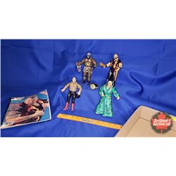 Tray Lot : Poseable Jakks Action Figures (8) - Including George The Animal; Ric Flair; Bam Bam Bigel