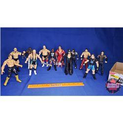Tray Lot : Poseable Jakks Action Figures (12) - Including Undertaker; Ken Shamrock; Finlay; Eddie Gu