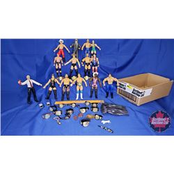 """Tray Lot : Poseable Jakks Action Figures (14) - Variety (7""""H) Including Finlay and Don Muraco & Acce"""