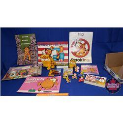 Garfield Box Lot: Posters; Plush Toys (2); Mirror; DVD; Books (2); etc