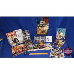 Star Wars Box Lot :Episode 1 Oi-Wan Kenobi Figure; Collector Patches; Books; Ephemera; ; etc