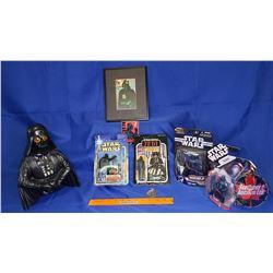 Darth Vader Box Lot : Ceramic Bust (No Light Saber); Figurines (4); Framed Hologram Picture; Entry P