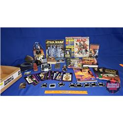 Star Wars Box Lot : Handheld Electronic Game; Figurines (2);  Books; Pop Up Books; Magazines; VHS Se