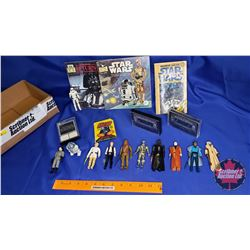 Star Wars Box Lot : 1977 Action Figures; 1980 Collector Card Gum Pack; Cassette Tapes & Book; etc
