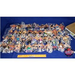 """Tray Lot: 48 Wrestling Action Figures (4-1/2""""-5""""H)"""