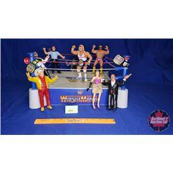 "WWF Wrestling Ring w/Flexible Rubber Wrestling Figures (8) Including Hulk Hogan & Macho Man (8""H)"
