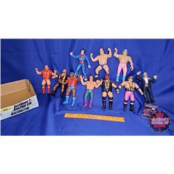 Box Lot : Flexible Rubber Wrestling Figures (10) : Including Andre the Giant, Kane, Jesse Ventura; M