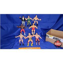 "Box Lot : Flexible Rubber Wrestling Figures (8) : Hulk Hogan; Cpl Kirschner; Mr. Fuji, etc (8""H)"