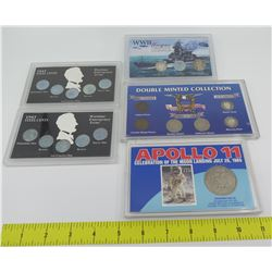 5 Coin Sets: WWII Obsolete Coins, Double Minted 1938 Nickels, Apollo 11, 1943 Wartime Steel Cents