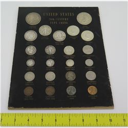 Set United States 20th Century Type Coins: Morgan 1878, Liberty 1916, etc