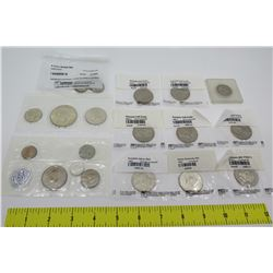 Misc Coins in Sealed Packaging: 1963-64 Silver Kennedy Half Dollars, etc