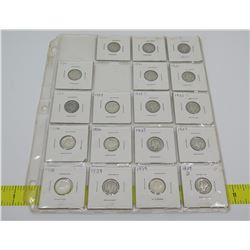 Qty 18: 1920's & 1030's Liberty Dimes, etc in Plastic Protector