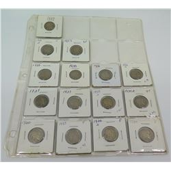 Qty 15: 1920-1930's Indian Head Nickels, etc in Cardboard Flips in Plastic Protector