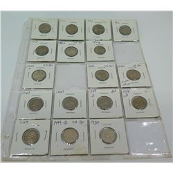 Qty 17: 1940-1950's Indian Head Nickels, etc in Plastic Protector