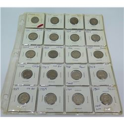 Qty 20: 1950-1960's Jefferson Nickels, etc in Plastic Protector