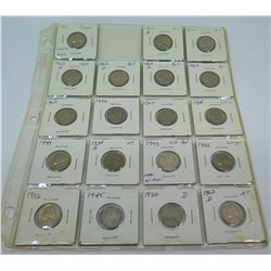 Qty 19: 1938-1960's Jefferson Nickels, etc in Plastic Protector