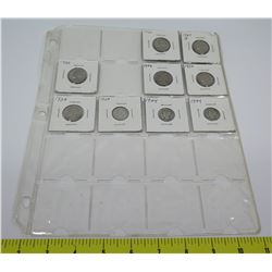 Qty 9: 1920's-1960's Liberty Nickels, etc in Plastic Protector