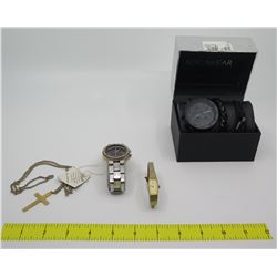 Qty 3 Watches: RocaWear in Box, Seiko, Pulsar Picasso  & Cross Pendant w/ Neck Chain