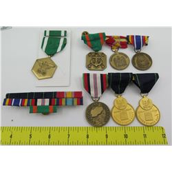 Qty 7 Military Service Medals: Navy Rifleman, Afghanistan, National Defense, etc