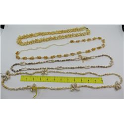 Qty 4 Mic. Shell Lei Necklaces