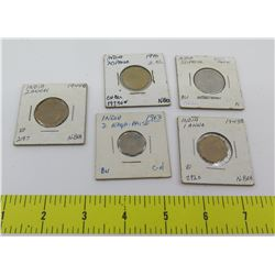 Qty 5 Coins:  India Anna & Naya Paise 1943-1970 in Cardboard Flips