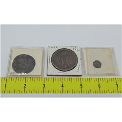Qty 3 Antique Coins:  Elizabeth I Shilling, 1842 Coin, Coin Labeled 'Herod I 40BCE - 4CE'
