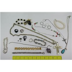 Misc Jewelry: Cross Pendants w/ Neck Chains, Rings, Turquoise Pendant, Bracelets, etc