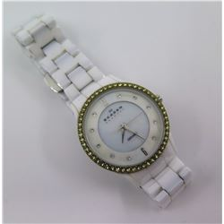 Skagen Denmark White Ceramic Mineral Crystal Watch