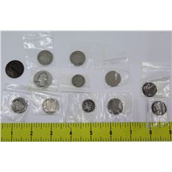 Qty 12 Coins: Quarters, Dimes in Plastic Sleeves: 1883, 1906, 1910, 1940, etc