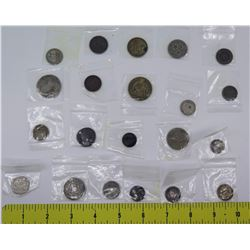 Qty 21 Coins in Plastic Sleeves: 1956 50 Centimes, Yen, Australia Three Pence, etc