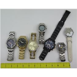 Qty 7 Watches: Elgin, Armitron, Orient, Fossil, Mickey Mouse, etc