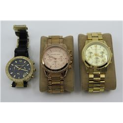 Qty 3 Michael Kors Watches w/ Metal Bands & Crystal Accents
