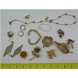 Misc Jewelry: Black Pearl Necklace, Earrings, Ring, Brooches