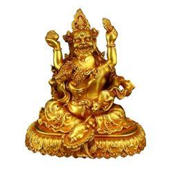 A GILT BRONZE MAHAKALA BUDDHA FIGURE QING DYNASTY.
