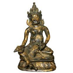 A GILT BRONZE JAMBHALA BUDDHA FIGURE QING DYNASTY.