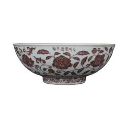 A RED AND WHITE LOTUS BOWL XUANDE MARK.