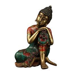 A BRONZE INLAY GEMSTONE SHAKYAMUNI BUDDHA FIGURE QING.