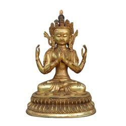 A GILT BRONZE KWANYIN BUDDHA FIGURE QING DYNASTY.