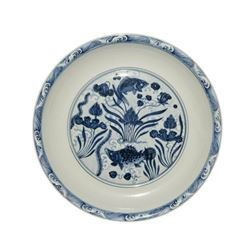 A BLUE AND WHITE FISH PLATE XUANDE MARK.