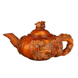 A OX-H**N CARVED FLOWER TEAPOT QIANLONG PERIOD.
