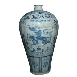 A BLUE AND WHITE WARRIOR MEIPING VASE MING DYNASTY.