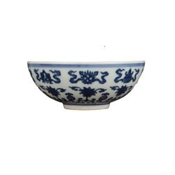 A BLUE AND WHITE LOTUS BOWL YONGZHENG MARK.