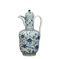 A BLUE AND WHITE LOTUS TEAPOT XUANDE MARK.