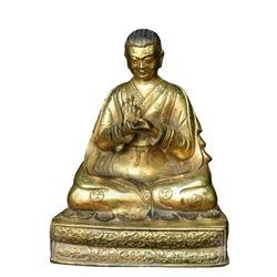 A GILT BRONZE LAMA GURU BUDDHA FIGURE QING DYNASTY.