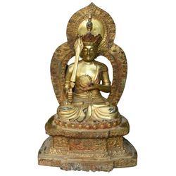 A GILT BRONZE KSITIGARBHA BUDDHA FIGURE QING DYNASTY.