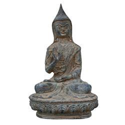 A BRONZE TSONGKHAPA BUDDHA FIGURE QING DYNASTY.